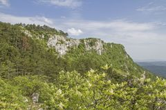 Landscape in central Istria. The interior of Istria with its idyllic countryside a paradise for hikers and mountain bikers stock photos