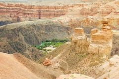 Landscape of central part of Charyn canyon in Kazakhstan stock photography