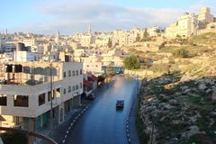 City of Bethlehem. Palestine. Landscapes of exotic southern vegetation park areas and city views on a sunny, clear day. stock photos