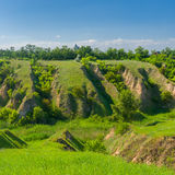 Landscape in central Ukraine with soil erosion Royalty Free Stock Photography