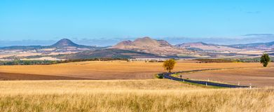 Landscape of Ceske Stredohori, aka Central Bohemian Highlands, with typical spiky hills of volcanic origin, Czech. Republic stock photos