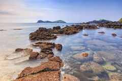 Landscape with Chagwido Island and strange volcanic rocks, view Royalty Free Stock Image