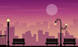 Landscape of chair lamp on street silhouettes. Vector art stock illustration