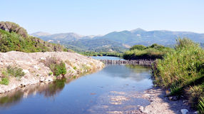 Landscape and channel on the island of Corfu, Greece, Europe Royalty Free Stock Images