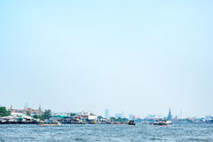 Landscape of Chao phar ya river with city building view ,Bangkok Stock Images