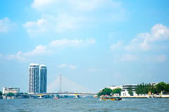Landscape of Chao phar ya river with city building view ,Bangkok Royalty Free Stock Photography