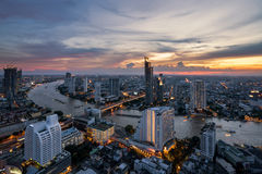 Landscape of Chao phraya river in Bangkok city in evening time w Royalty Free Stock Images