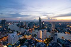 Landscape of Chao phraya river in Bangkok city in evening time w. Ith bird view. Bangkok City at night time, Hotel and resident area in the capital of Thailand Stock Photography