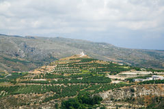 Landscape with chapel in Crete Stock Photography