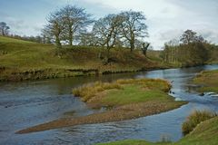 Landscape, Chatsworth Park, River Derwent, Peak District, Derbyshire, Stock Photo