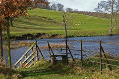 Landscape, Chatsworth Park, River Derwent, Peak District, Derbyshire, Royalty Free Stock Images
