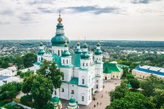 Landscape in Chernihiv with ancient church Stock Photo