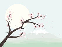 Landscape with cherry blossom branch vector illustration Stock Photography