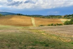 Landscape in Chianti region in province of Siena. Tuscany. Italy stock photo