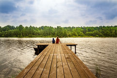 Landscape with children on the river summer cloud by day, Russia, the Urals stock photos