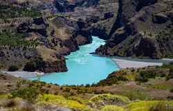 Rio Baker in Chilean Patagonia. Landscape of chile patagonia in Aysen Region. Austral road. Chile. Cochrane Commune. You can see the Baker River with its stock photos