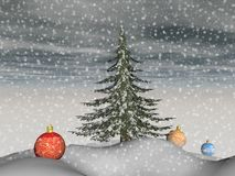 Landscape of Christmas - 3d render. Magnificent Christmas baubles and a fir tree in the landscape Stock Image