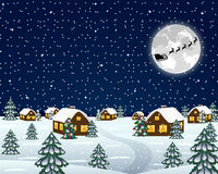 Landscape in the Christmas night Royalty Free Stock Images