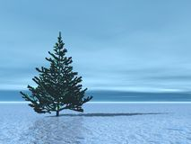 Landscape with Christmas tree stock illustration