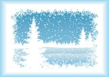 Landscape with Christmas tree, silhouettes. Winter woodland landscape with the Christmas tree and snowflakes, blue silhouettes on white background. Eps10 Royalty Free Stock Image