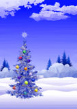 Landscape with Christmas tree Stock Photography