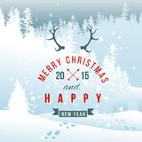 Landscape with Christmas type design Royalty Free Stock Image