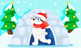 Landscape Christmas white bear Stock Images