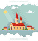 Landscape church on the background of the city. Flat vector illu Stock Images