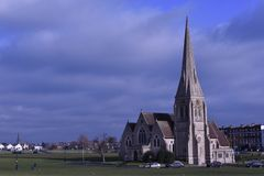 Landscape, a church in building in the park. Stock Image