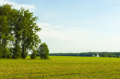 The landscape and the Church. The Church is close to the forest and fields Stock Photography