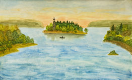 Landscape with church on island, painting Royalty Free Stock Photos
