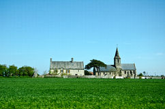 Landscape with church. Normandiy France Royalty Free Stock Photography