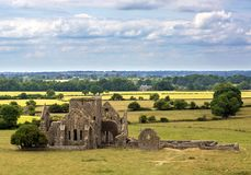 Landscape with church ruins. From the historical site of Rock of Cashel, Ireland Stock Image