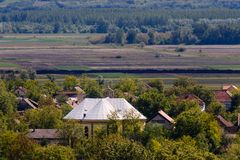 Church in avillage of Titel, Serbia aerial take royalty free stock images