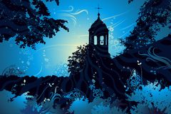 Landscape with church, vector stock illustration