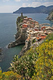 Landscape, Cinque Terre, Italy. Vernazza is one of five famous villages of Cinque Terre, suspended between sea and land on sheer cliffs upon the beautiful sea royalty free stock image