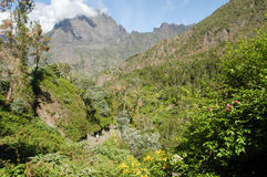 Landscape of Cirque of Cilaos on La Reunion Island Stock Photos