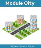 Landscape of the city. City block quarter district isometric 3D landscape of the town. Top view of dimensional area modern houses and skyscrapers of urban blocks Stock Photos