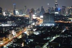 Landscape. City building night light background wallpaper stock photo