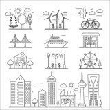 Landscape city buildings thin line ourline linear design icons elements set. Graphic design city constructor. Royalty Free Stock Photo