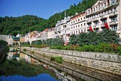 Landscape city center in Karlovy Vary royalty free stock photography