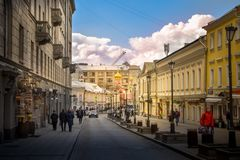 A landscape of the city center in Moscow & x28;Kitay-gorod& x29; royalty free stock photo