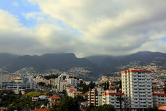 Landscape. City Funchal on the background mountains. Island Madeira stock photography