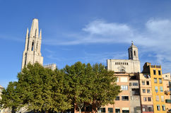 Landscape of the city of Girona, Spain Royalty Free Stock Images