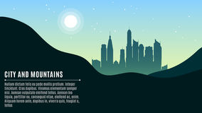 Landscape on the city. Hilly mountains and a big morning city. Bright sun and stars on a turquoise sky. A place for your projects. Vector illustration in a Stock Photography