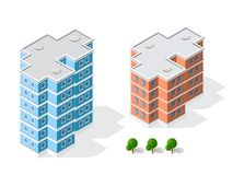 Landscape of the city. Isometric 3D landscape of the city. Top view of dimensional town modern houses and skyscrapers of urban blocks Royalty Free Stock Photos