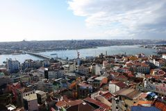 Landscape city of Istanbul from Galata Tower, a pa Royalty Free Stock Image