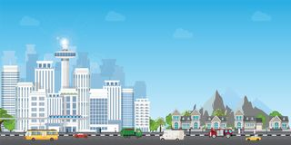 Landscape city with large modern buildings and suburb with private houses stock illustration