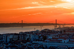 Landscape of city Lisbon Stock Photos