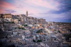The landscape of the city of matera at sunset royalty free stock photography
